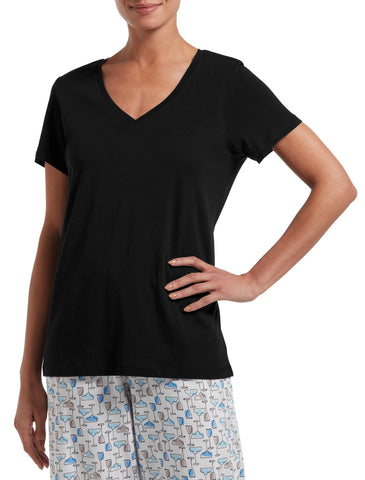 Black V Neck Sleep Top