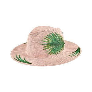 Blush Fedora with Palm Leaves