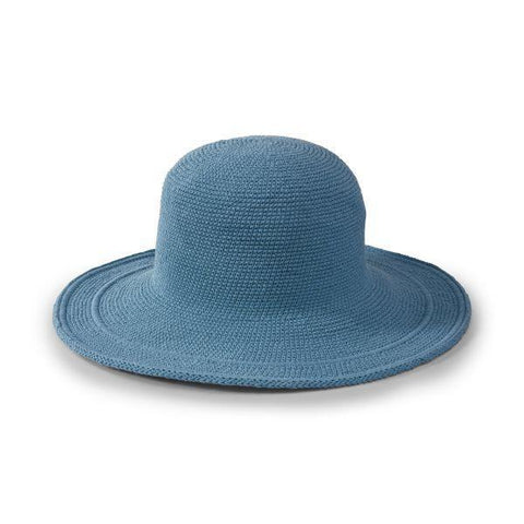 Cotton Crochet Large Brim Hat in Denim