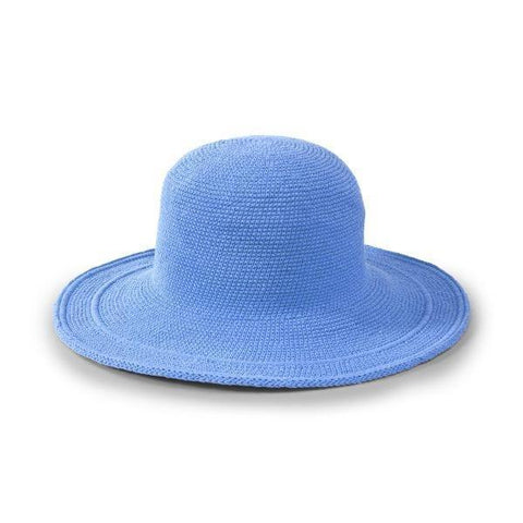 Cotton Crochet Large Brim Hat in Periwinkle