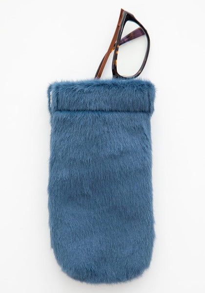 Dusty Blue Fuzzy Sunglass Case