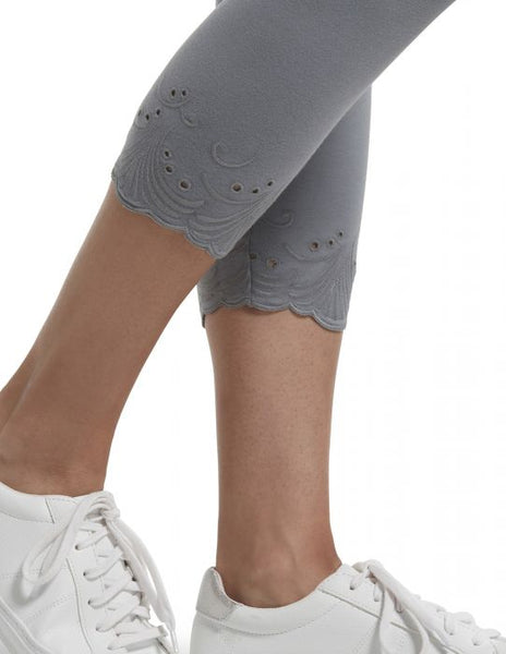 Granite Embroidered Eyelet Hem Cotton Capri