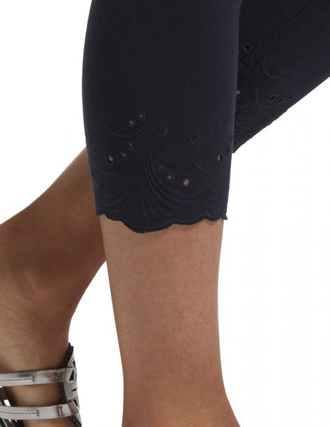Navy Embroidered Eyelet Hem Cotton Capri