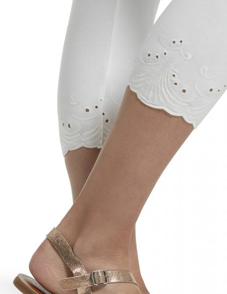 White Embroidered Eyelet Hem Cotton Capri