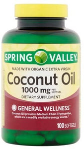 Spring Valley Coconut Oil Softgels, 1000 mg, 100 Ct