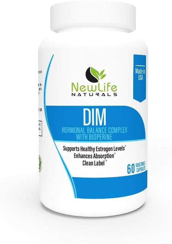 NewLife Naturals Diindolylmethane DIM Supplement: 300mg DIM Plus BioPerine Estrogen Metabolism Supplements - Hormone Balance for Women and Men, Menopause Support, PCOS and Acne Treatment - 60 Capsules