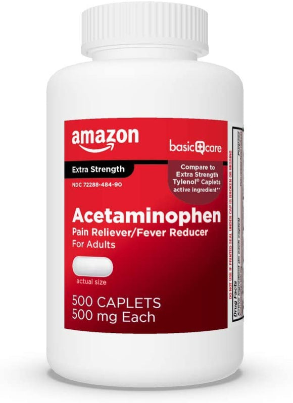 Basic Care Extra Strength Pain Relief, Acetaminophen Caplets, 500 mg, 500 Count