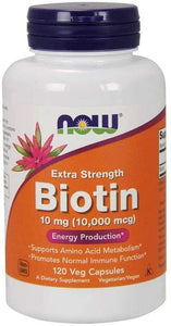 NOW Supplements, Biotin 10 mg (10,000 mcg), Extra Strength, Energy Production*, 120 Veg Capsules