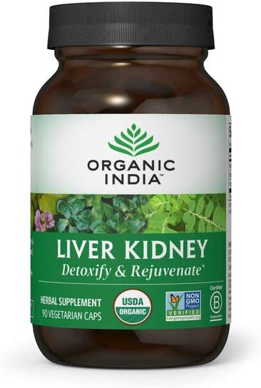 Organic India Liver Kidney Herbal Supplement - Detoxify & Rejuvenate, Supports Healthy Liver & Kidney Function, Vegan, Gluten-Free, Kosher, USDA Certified Organic, Non-GMO - 90 Capsules
