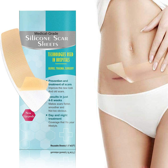 Scar Removal Patch, Scar Removal Strips Fast & Effective on Keloid, Professional Removal Sheets for Scars Caused by C-Section, Surgery, Burn, Acne, 2 Reusable Scar Sheets, 1.6