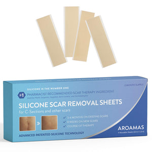 "Aroamas Professional Silicone Scar Removal Sheets for Scars Caused by C-Section, Surgery, Burn, Keloid, Acne, and more, Soft Adhesive Fabric Strips, Drug-Free, 5.7""×1.57"", 4 Reusable pcs (2 Month Supp"