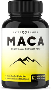 Organic Maca Root Powder Capsules - 1000mg Peru Grown - Energy, Performance & Mood Supplement for Men & Women - Vegan Pills - Gelatinized + Black Pepper Extract for Superior Results