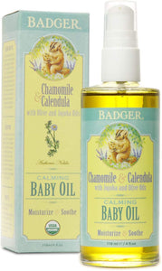 Badger - Baby Oil, Chamomile & Calendula, Organic Baby Oil, Softens & Moisturizes Baby's Skin, Baby Oil for Dry Skin, Baby Oil for Newborns, Soothing Baby Oil, 4 oz