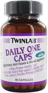 Twinlab Daily One Multivitamin With Iron - Multivitamin for Stress Relief, Energy, Memory & Eye Health For Women & Men - With Vitamin C, Vitamin D, Zinc, Vitamin A, Vitamin B12 - (60 CAPS)
