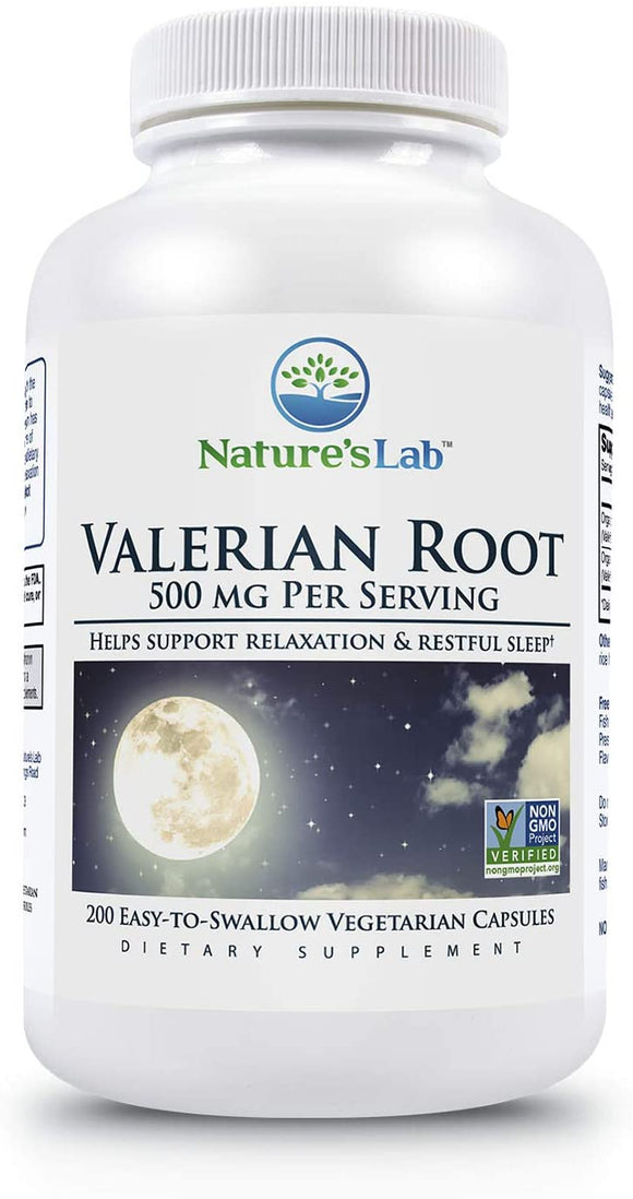 Nature's Lab Valerian Root 500mg - 200Count (3 Month Supply) Aids in Healthy Natural Sleep, Controlling Anxiety & Stress Management