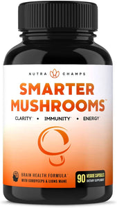 Mushroom Supplement - Lions Mane & Cordyceps Complex with Reishi & More - Immune System Booster & Nootropic Brain Support Formula for Energy, Focus, Memory, Clarity & Stress Relief - 90 Vegan Capsules