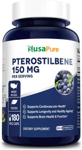 Pterostilbene 150mg 180 Veggie Caps (Non-GMO & Gluten Free) - Promotes Healthy Aging and Longevity - Better Than Resveratrol - 75mg per caps