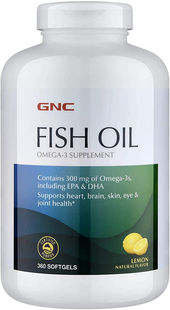 GNC Fish Oil, Lemon, 360 Softgels, Supports Heart, Brain, Skin, Eye and Joint Health