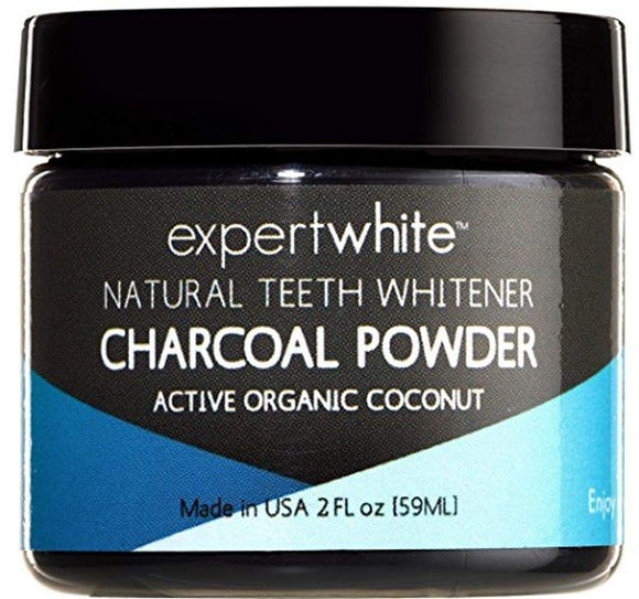 Expertwhite Teeth Whitening Charcoal Powder Toothpaste For Whitening Teeth (Mint Flavor) 2fl oz. Made in USA. Natural Tooth Whitening & Polishing Paste. Safe on Enamel.