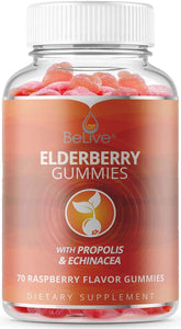 Elderberry Gummies with Vitaminc C, Propolis, Echinacea. Max Strength 200MG - Sambucus Immune Support for Adults & Kids | Raspberry - 70 Count