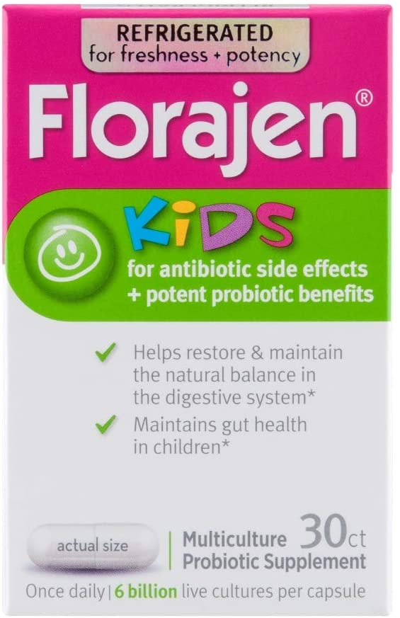 Florajen Kids Refrigerated Probiotics | Supports Gut and Immune Health | 6 Billion CFUs | for Antibiotic Side Effects | 30 Capsules