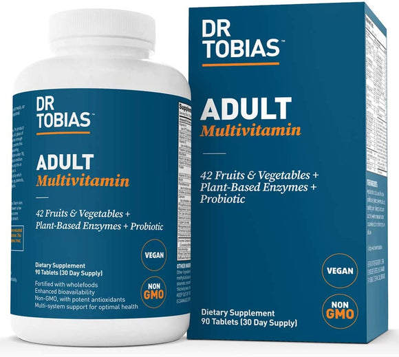 Dr Tobias Adult Multivitamin - Enhanced Bioavailability - with Whole Foods, Herbs, Minerals and Enzymes - Non-GMO