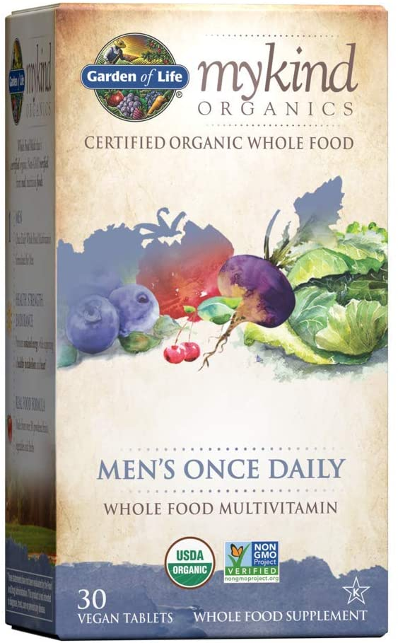 Garden of Life Multivitamin for Men - mykind Organic Men's Once Daily Whole Food Vitamin Supplement Tablets , Vegan, 30 Count