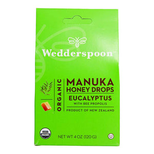 Wedderspoon Organic Manuka Honey Drops, Eucalyptus + Bee Propolis, Unpasteurized, Genuine New Zealand Honey, Perfect Remedy For Dry Throats, 4.0 Oz, Black
