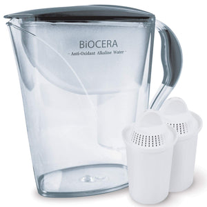 BIO CERA Alkaline Antioxidant Water Filter Pitcher (Includes 2 FREE Cartridges)