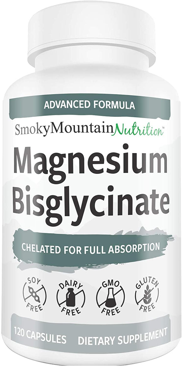 Magnesium Glycinate Supplements 100% Chelate TRAACS® 200mg (120 Capsules) Maximum Absorption & Bioavailability, Chelated & Buffered - Sleep, Energy, Anxiety, Leg Cramps & Headaches*