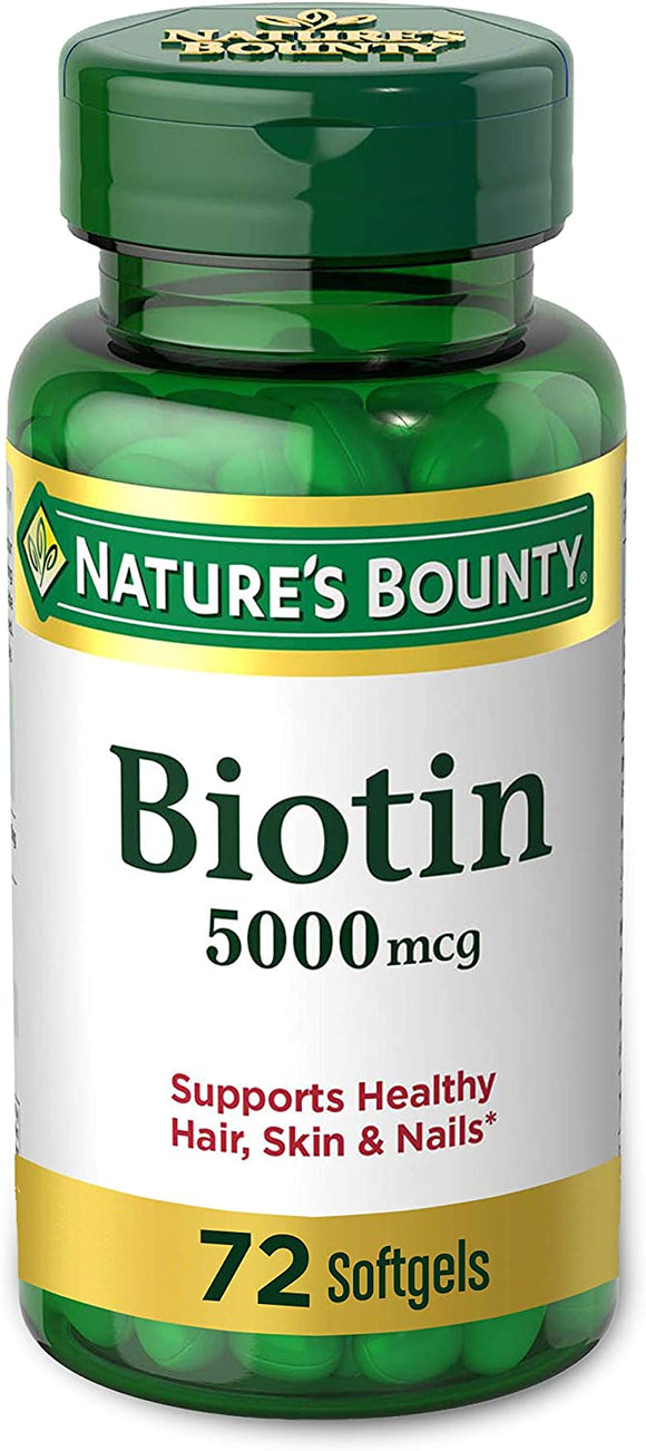 Biotin by Nature's Bounty, Vitamin Supplement, Supports Metabolism for Energy and Healthy Hair, Skin, and Nails, 5000 mcg, 72 Softgels