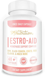 Estro-Aid: Estrogen-Free Menopause Supplements.* 60 Capsules (2 Months) DIM Supplement, Black Cohosh, Wild Yam, Chrysin & Red Clover for Estrogen Balance*, PMS* & Weight Loss.* Non-GMO & Gluten-Free
