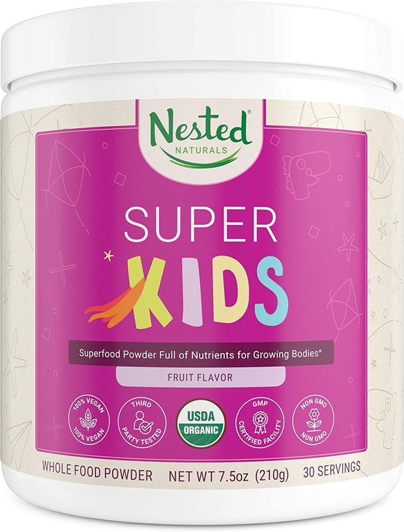 Nested Naturals Super Kids | 100% USDA Organic Vegan Superfood Powder for Kids | 30 Servings of Greens, Veggies, Fruits, Seeds | Natural Fruit Flavor 0g Sugar | Non-GMO Plant-Based Nutrition
