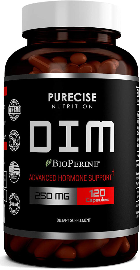 Dim Supplement 250mg with Dong Quai, Vitamin E & BioPerine - Diindolylmethane Supports Menopause Relief, PCOS, Acne Treatment,Estrogen and Hormonal Balance for Women and Men- 120 Vegetable Capsules