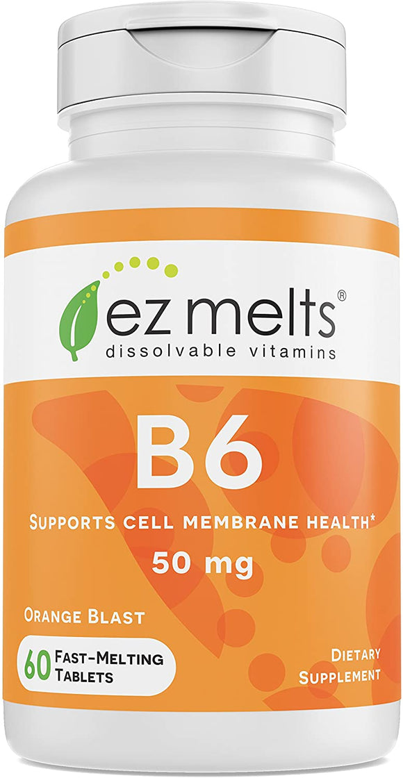 EZ Melts B6 as Pyridoxine, 50 mg, Sublingual Vitamins, Vegan, Zero Sugar, Natural Orange Flavor, 60 Fast Dissolve Tablets