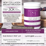 Collagen Peptides Powder Hair Skin Nail - Grass-Fed + Resveratrol Powder and Hyaluronic Acid - Anti-Aging & Antioxidant Support, Body Kitchen 10oz