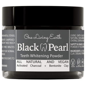 Black Pearl Activated Charcoal Teeth Whitening Toothpaste - Vegan Coconut Charcoal - Freshens Breath - Remineralizing Tooth Powder - Anti-Bacterial - Made In USA - Glass Jar