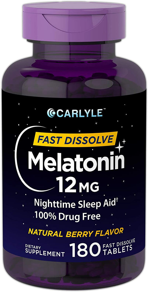 Carlyle Melatonin 12 mg Fast Dissolve 180 Tablets | Nighttime Sleep Aid | Natural Berry Flavor | Vegetarian, Non-GMO, Gluten Free