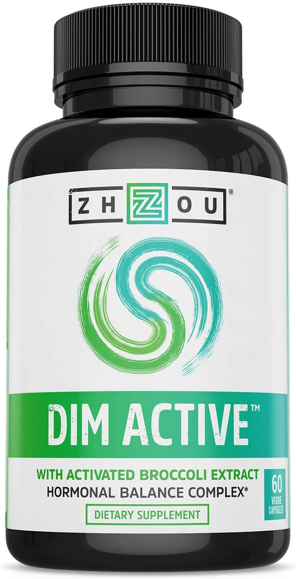 Zhou Nutrition DIM Active DIM Supplement - Menopause & Estrogen Metabolism Supplement with 250mg DIM Plus Broccoli Seed Extract & Bioperine - Hormone Balance Support for Women & Men - 60 Capsules