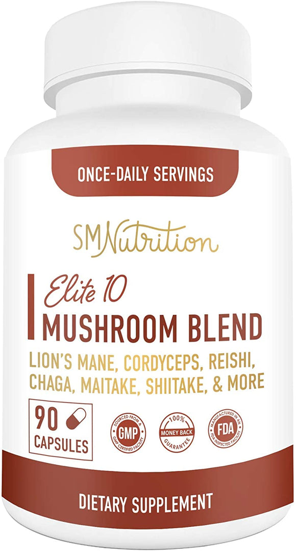Elite 10 Mushroom Blend Supplement - 90 Capsules; 10 Mushroom Extract Immune Support; Organic Mushrooms: Lions Mane, Turkey Tail, Cordyceps, Reishi, Shiitake, Maitake, Chaga Mushroom Immunity Complex
