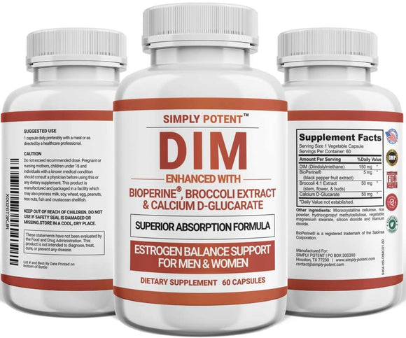 Simply Potent DIM Supplement 150mg with BioPerine, Estrogen Balancer for Women with Menopause, PMS & PCOS Symptom Relief, Estrogen Blocker & Lean Muscle Supplement for Men, 60 Capsules