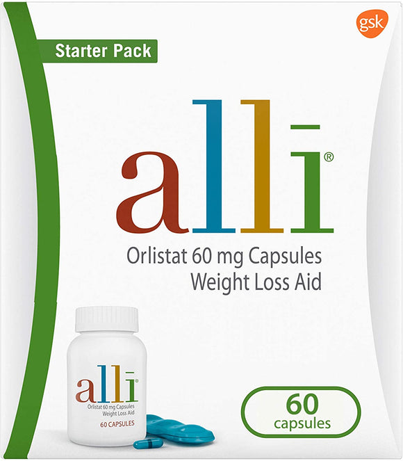 alli Diet Weight Loss Supplement Pills, Orlistat 60mg Capsules Starter Pack, 60 count