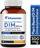 Vitamistic DIM Supplement 300mg Natural and Plant-Based, 90 Veggie Caps, Diindolylmethane with Black Pepper, Non-GMO, Supports Healthy Estrogen Metabolism, Balances Hormone Levels for Women and Men