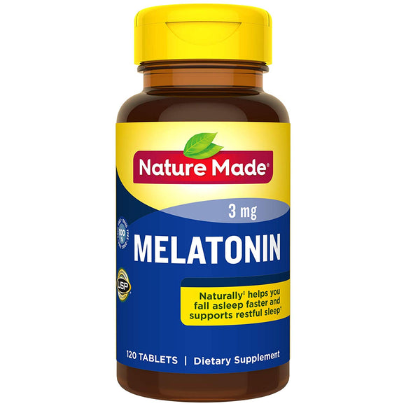 Nature Made Melatonin 3mg Tablets, 120 Count for Supporting Restful Sleep† (Packaging May Vary)
