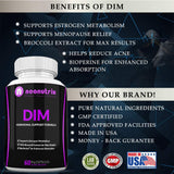 DIM Supplement 150 mg for Menopause Relief, Hot Flashes & Hormonal Acne Solution - Estrogen Balance Pills for Women Infused with Bioperine, Broccoli & Calcium D Glucarate 60 DIM Capsules by Neonutrix