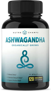 Organic Ashwagandha 1200mg - 120 Vegan Capsules w/ BioPerine - Premium Root Powder Supplement for Stress & Anxiety Relief, Mood & Thyroid Support - Ashwaganda w/ Black Pepper Extract