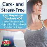 KAL® Magnesium Glycinate 400 mg | Chelated Magnesium Supplement | High Absorption, Gentle Digestion | Sugar Free Natural Orange Flavor | 120 Chewables