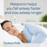 Melatonin by Puritan's Pride, Nighttime Sleep Aid, Super Strength Rapid Release Capsules, 10mg, 2 Bottles of 120 Capsules