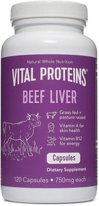 Grass-Fed Desiccated Beef Liver Pills - Vital Proteins (120 Capsules, 750mg Each)