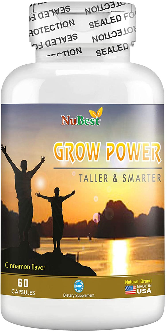 Grow Power Pills - Maximum Natural Growth Height Formula for Children and Teens - Height Growth Supplement - How to Grow Taller | 60 Vegan Capsules
